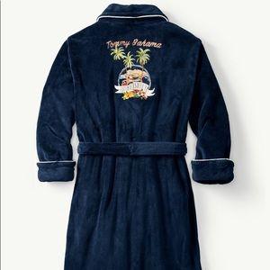 Tommy Bahama Swing Shift Plush Navy Blue Robe